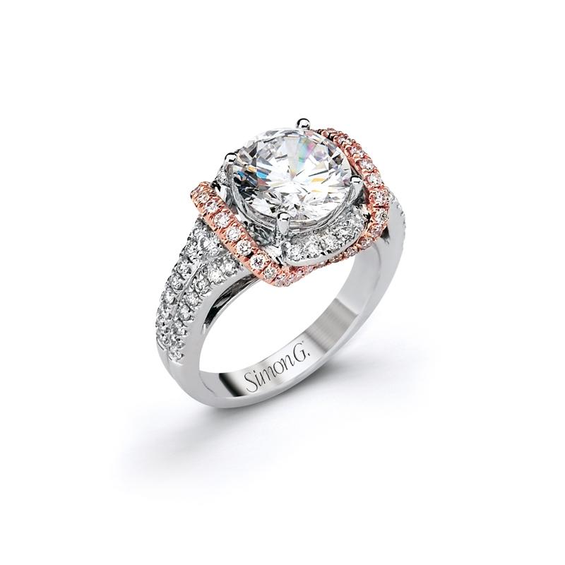 .68ct Simon G Diamond 18k Two Tone Gold Halo Engagement Ring Setting