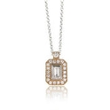 Simon G Diamond Antique Style 18k Pink Gold Pendant Necklace