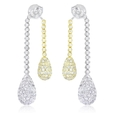 7.29ct Diamond 18k Two Tone Gold Dangle Earrings