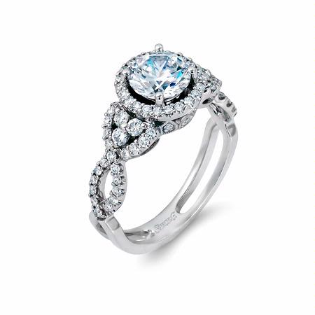 Simon G Diamond Antique Style Platinum Halo Engagement Ring Setting