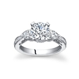 Natalie K Diamond Antique Style 18k White Gold Engagement Ring Setting