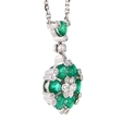 .27ct Diamond and Emerald 18k White Gold Pendant Necklace
