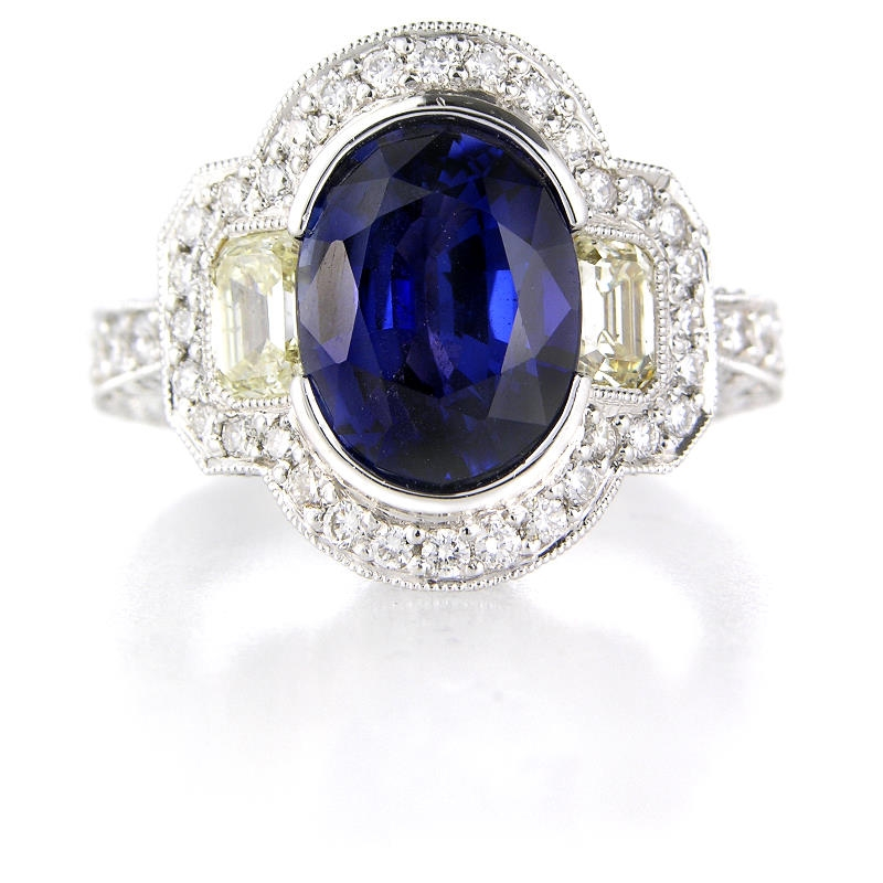 1 55ct and blue sapphire antique style 18k white