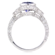 1.55ct Diamond and Blue Sapphire Antique Style 18k White Gold Ring