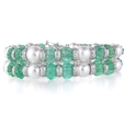4.36ct Diamond Emerald & South Sea Pearl 18k White Gold Bracelet