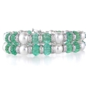 Diamond Emerald & Pearl 18k White Gold Bracelet