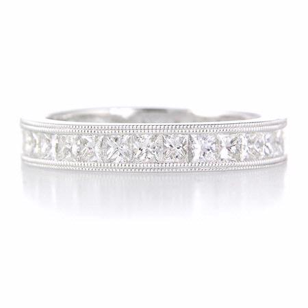 Diamond Platinum Antique Style Eternity Wedding Band Ring