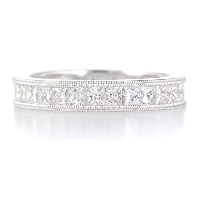 1.85ct Diamond Platinum Antique Style Eternity Wedding