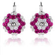 .39ct Diamond and Ruby 18k White Gold Cluster Earrings