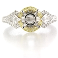 .52ct Simon G Diamond Platinum and 18k Yellow Gold Halo Engagement Ring Setting
