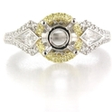Simon G Diamond Platinum and 18k Yellow Gold Halo Engagement Ring Setting