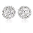 2.18ct Diamond 18k White Gold Cluster Earrings