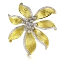Diamond 14k Two Tone Gold Brooch Pin