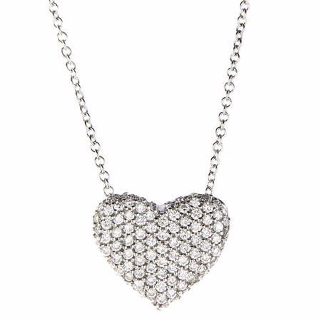 Simon G Diamond 18k White Gold Heart Pendant Necklace