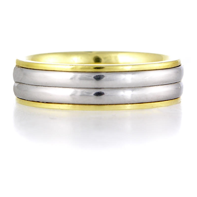 s platinum and 18k yellow gold wedding band ring