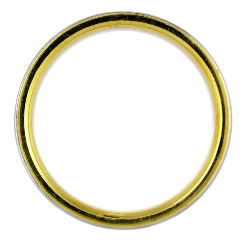 Mens Platinum And 18k Yellow Gold Wedding Band Ring