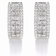 2.45ct Diamond 18k White Gold Huggie Earrings