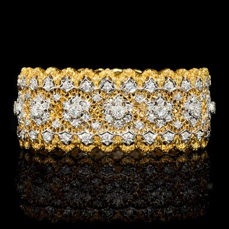 Diamond 18k Two Tone Gold Bangle Bracelet