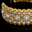 3.38ct Diamond 18k Two Tone Gold Bangle Bracelet
