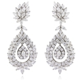 12.26ct Diamond 18k White Gold Dangle Earrings