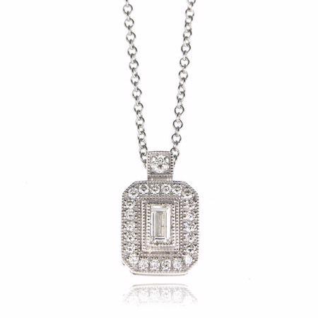 Simon G Diamond Antique Style 18k White Gold Pendant Necklace