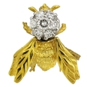 Diamond 18k Two Tone Gold Bee Brooch Pin