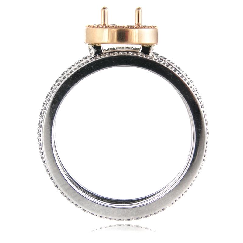 76ct Simon G Diamond Platinum Amp 18k Rose Gold Halo Engagement Ring Setting And Wedding Band Set