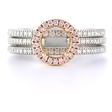 .76ct Simon G Diamond Platinum & 18k Rose Gold Halo Engagement Ring Setting and Wedding Band Set