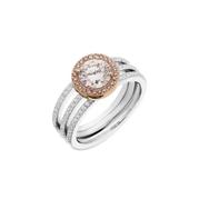 Simon G Diamond Platinum & 18k Rose Gold Engagement Ring Setting and Wedding Band Set
