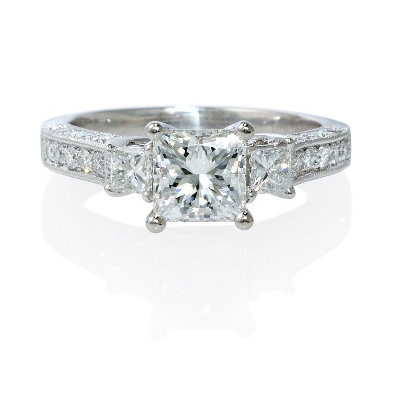 58ct platinum antique style engagement ring setting