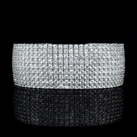 Diamond 18k White Gold Bangle Bracelet