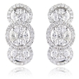 1.40ct Diamond 18k White Gold Cluster Earrings