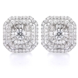 1.70ct Diamond 18k White Gold Cluster Earrings