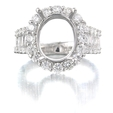 1.76ct Diamond 18k White Gold Halo Engagement Ring Setting
