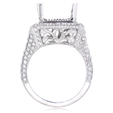 2.00ct Diamond Antique Style 18k White Gold Halo Engagement Ring Setting