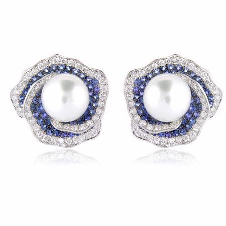 Diamond Blue Sapphire & Pearl 18k White Gold Earrings