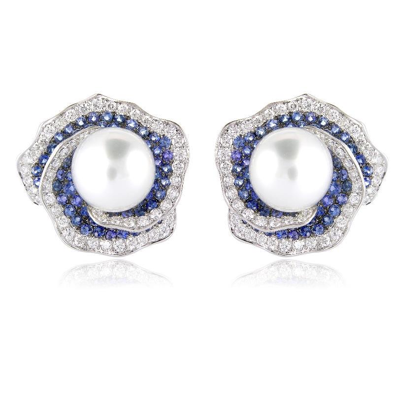 ct Diamond Blue Sapphire & Pearl 18k White Gold Earrings