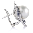 1.63ct Diamond Blue Sapphire & Pearl 18k White Gold Earrings