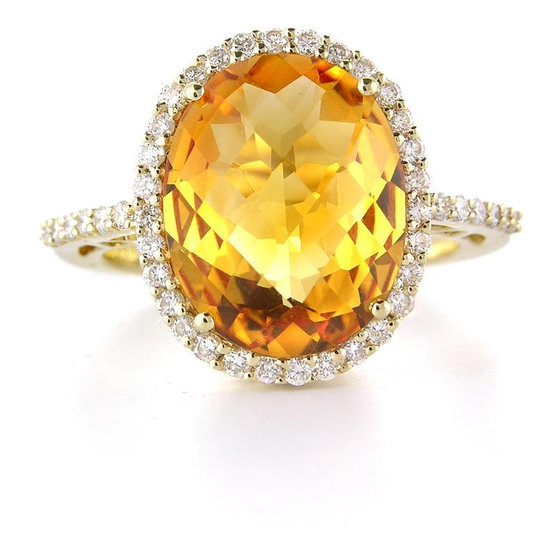 49ct diamond and citrine 14k yellow gold ring