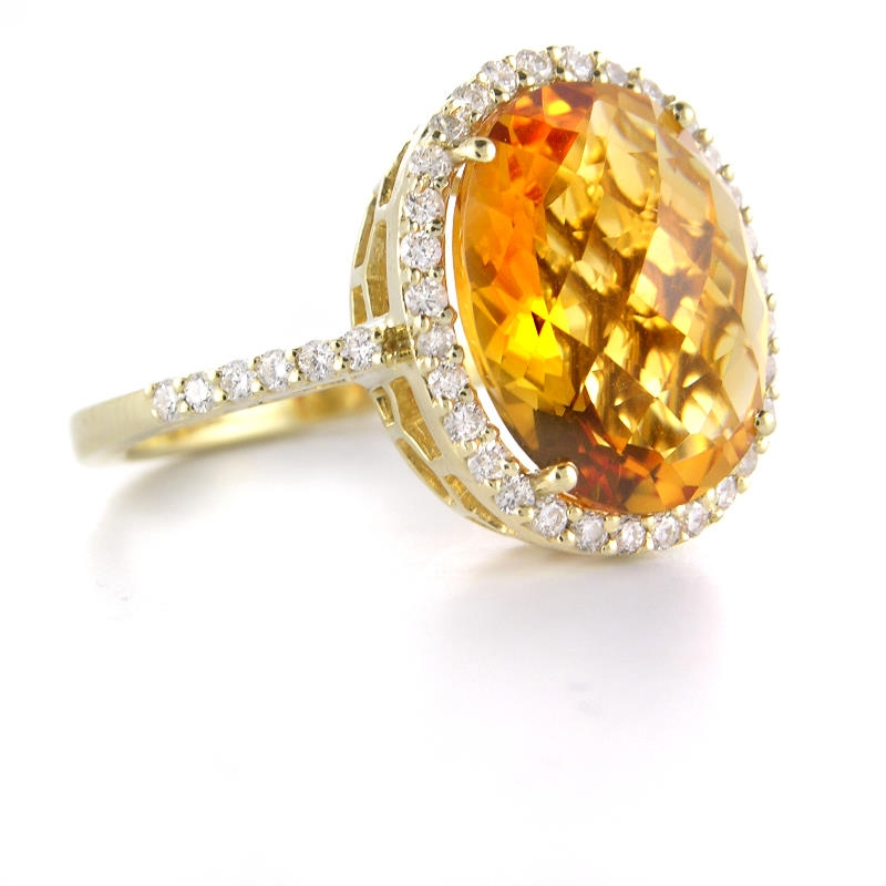 49ct and citrine 14k yellow gold ring