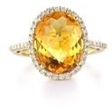 Diamond and Citrine 14k Yellow Gold Ring