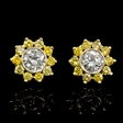 2.16ct Diamond 18k Two Tone Gold Cluster Earrings