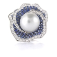 .93ct Diamond, Blue Sapphire & Pearl 18k White Gold Ring