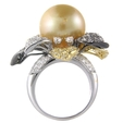 3.38ct Diamond and South Sea Pearl 18k Two Tone Gold Ring