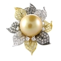 Diamond and South Sea Pearl 18k Two Tone Gold Ring