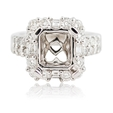 1.18ct Diamond Platinum Halo Engagement Ring Setting