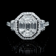1.74ct Diamond Antique Style 18k White Gold Halo Mosaic Engagement Ring