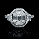 Diamond Antique Style 18k White Gold Engagement Ring