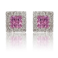.40ct Diamond Pink Sapphire 18k White Gold Earrings