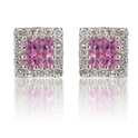 Diamond & Pink Sapphire 18k White Gold Earrings